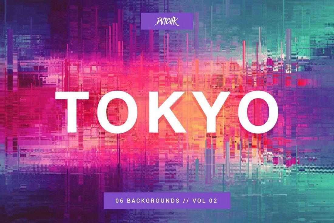 Tokyo City Glitch Backgrounds Vol.2