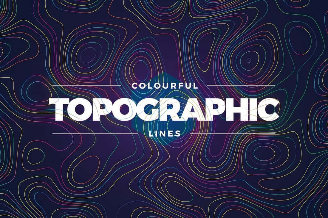 Topographic Styled Colorful Lines Textures