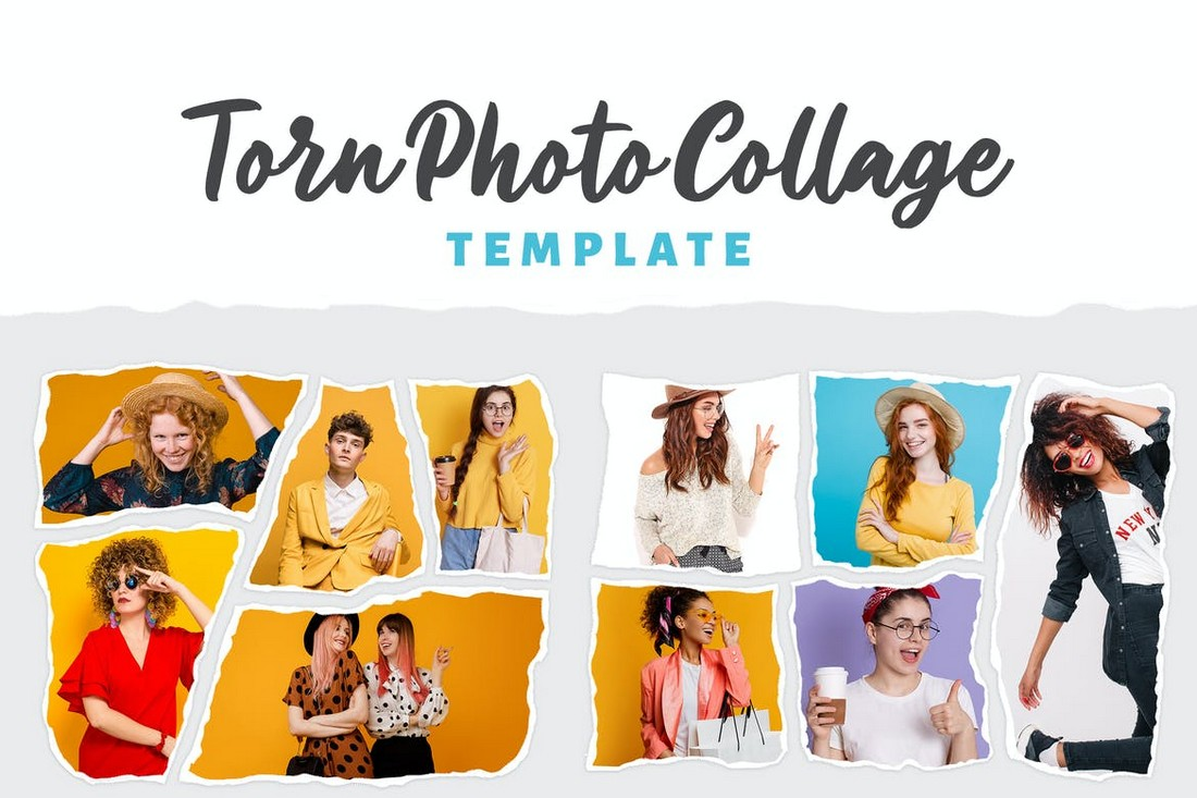 Torn Photo Collage Templates PSD