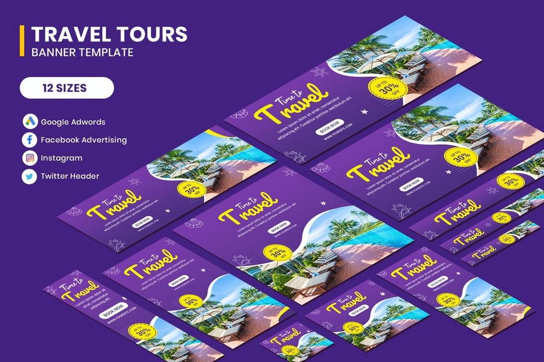 Tour & Travel Social Media Banner Templates Kit
