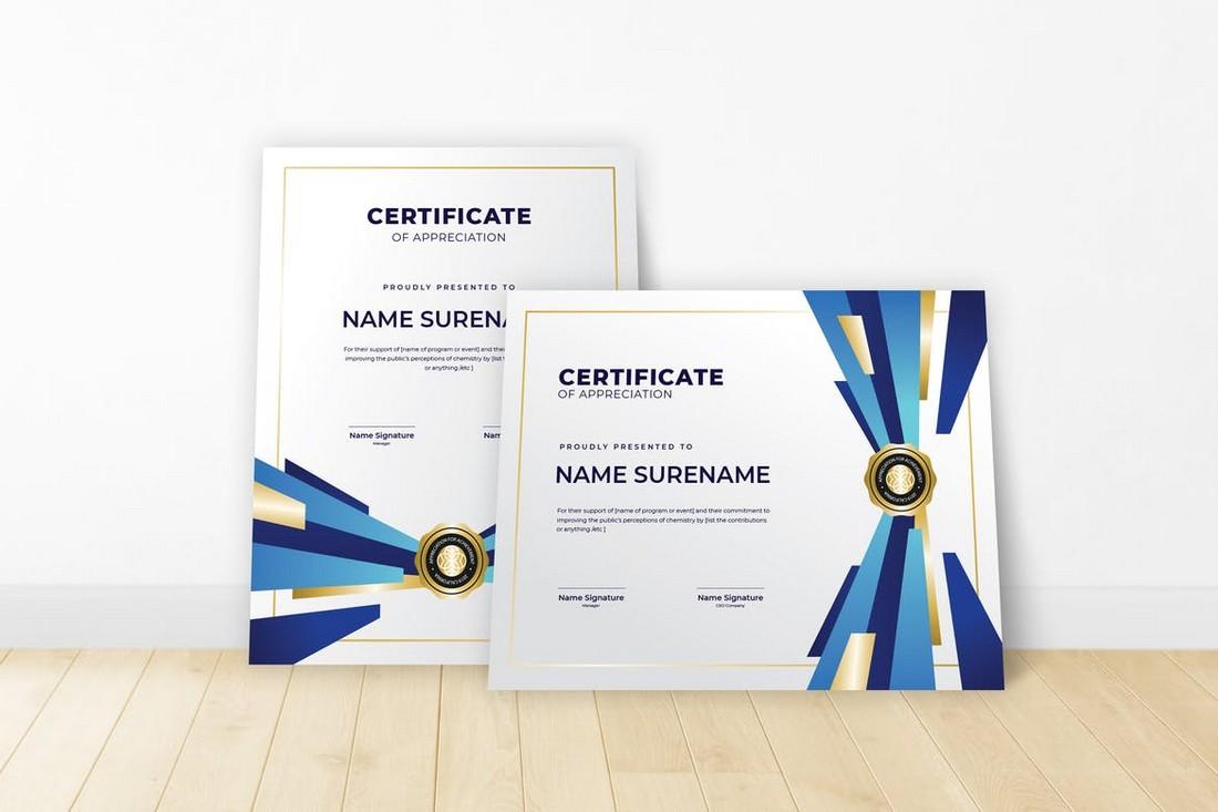 Training Certificate Template PSD