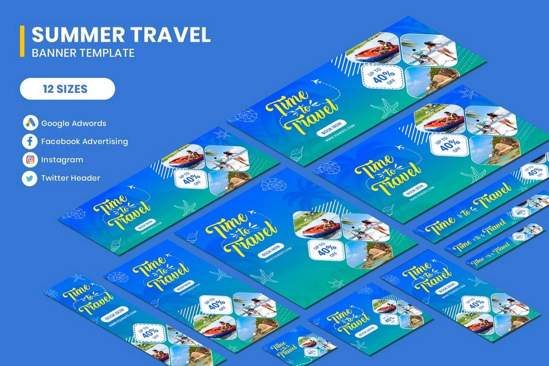 Travel Ad & Social Media Banner Templates Kit