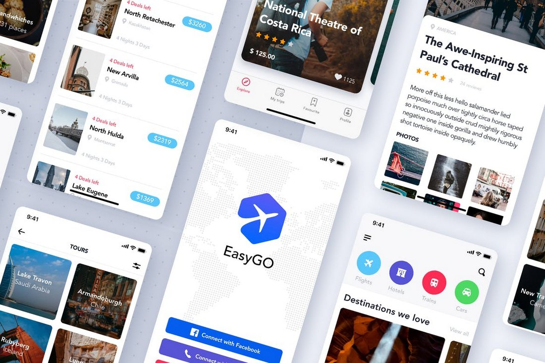 Travel Booking App UI Kit for Sketch