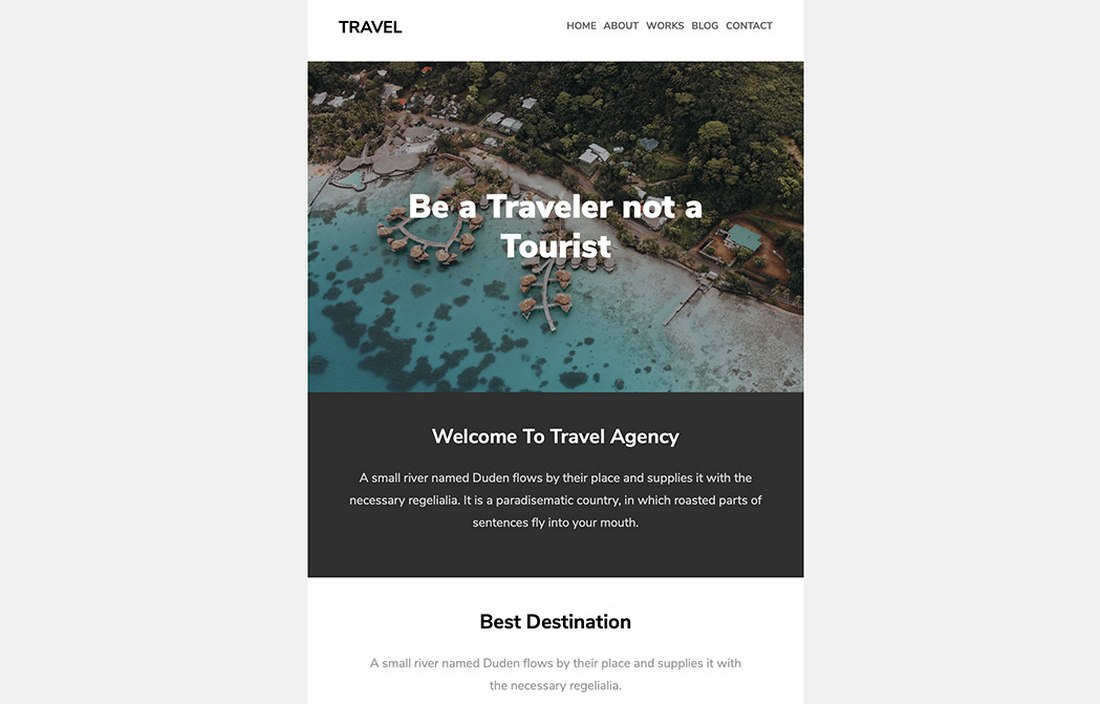 Travel-Free-Email-Newsletter-Template 20+ Best MailChimp Email Newsletter Templates (Free + Premium) 2021 design tips