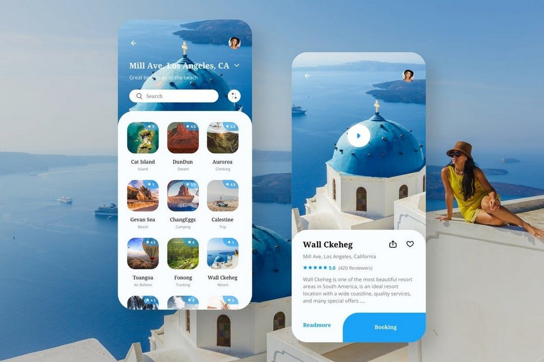 Travel-Mobile-App-UI-Templates-Kit 25+ Best Mobile App UI Design Examples + Templates design tips  Inspiration