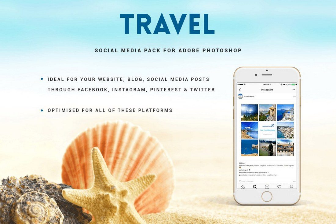 Travel-Social-Media-Pack 40+ Best Social Media Kit Templates & Graphics design tips  Inspiration|facebook|social media|twitter