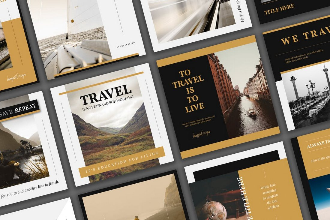 Travel-Social-Media-Template-Pack 30+ Best Instagram Templates & Banners design tips