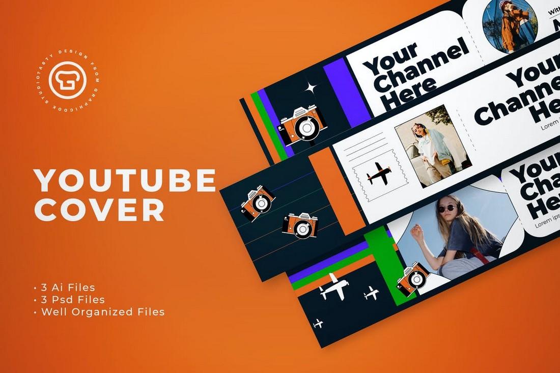 Travel Vlogger Youtube Cover Banner Template