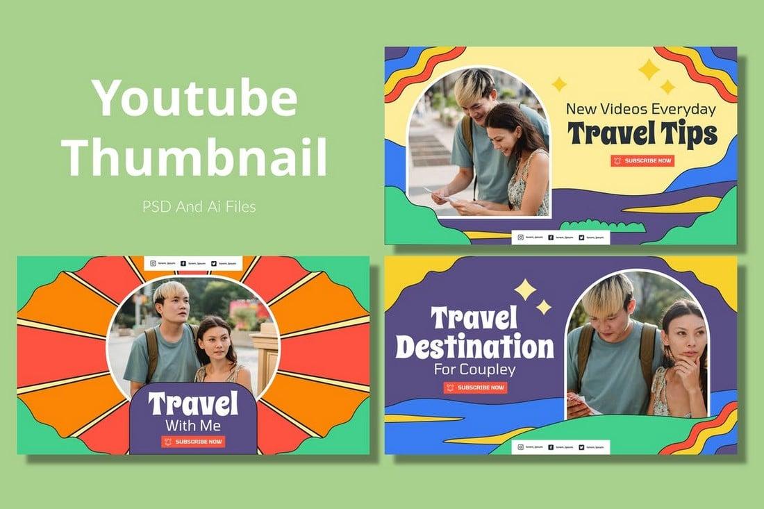Travelista - Travel Vlog Youtube Thumbnail Templates