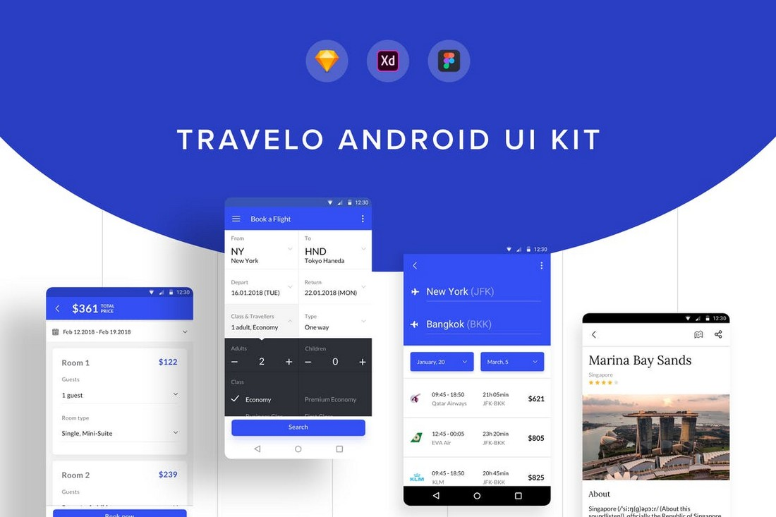 Travelo Android UI Kit for Figma