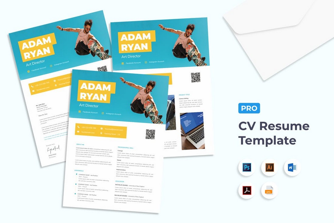 Trendy-CV-Resume-Template 50+ Best CV & Resume Templates 2020 design tips