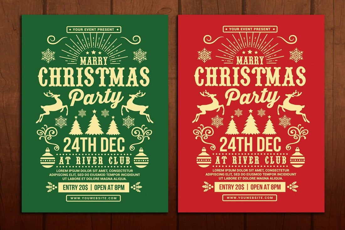 Trendy Christmas Party Flyer Template