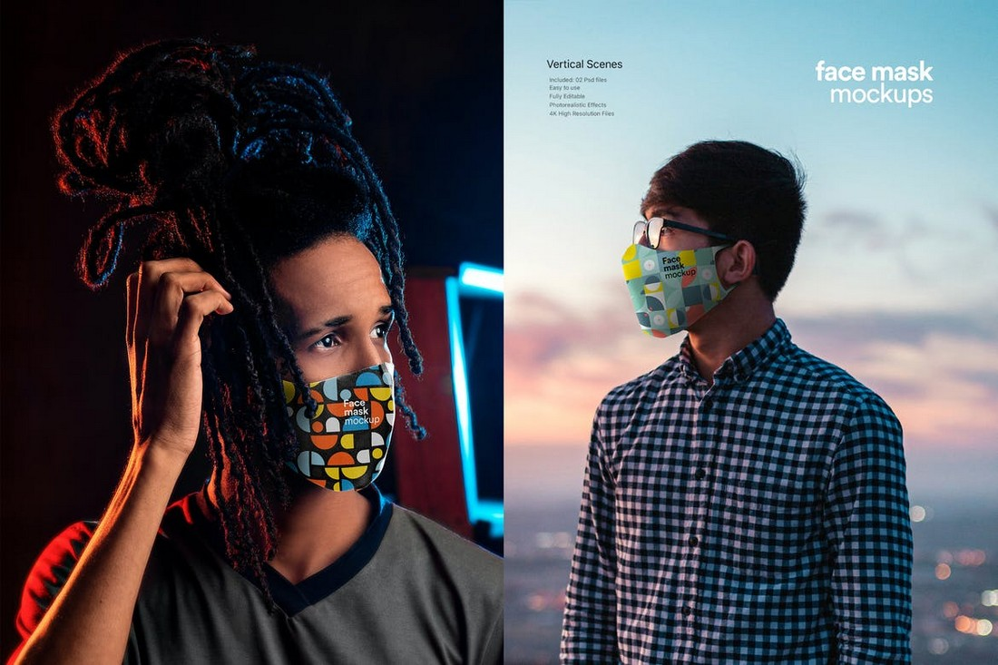Trendy Face Mask Mockup Template