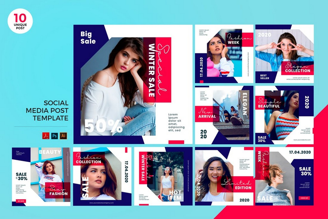 Trendy Fashion Social Media Kit PSD & AI