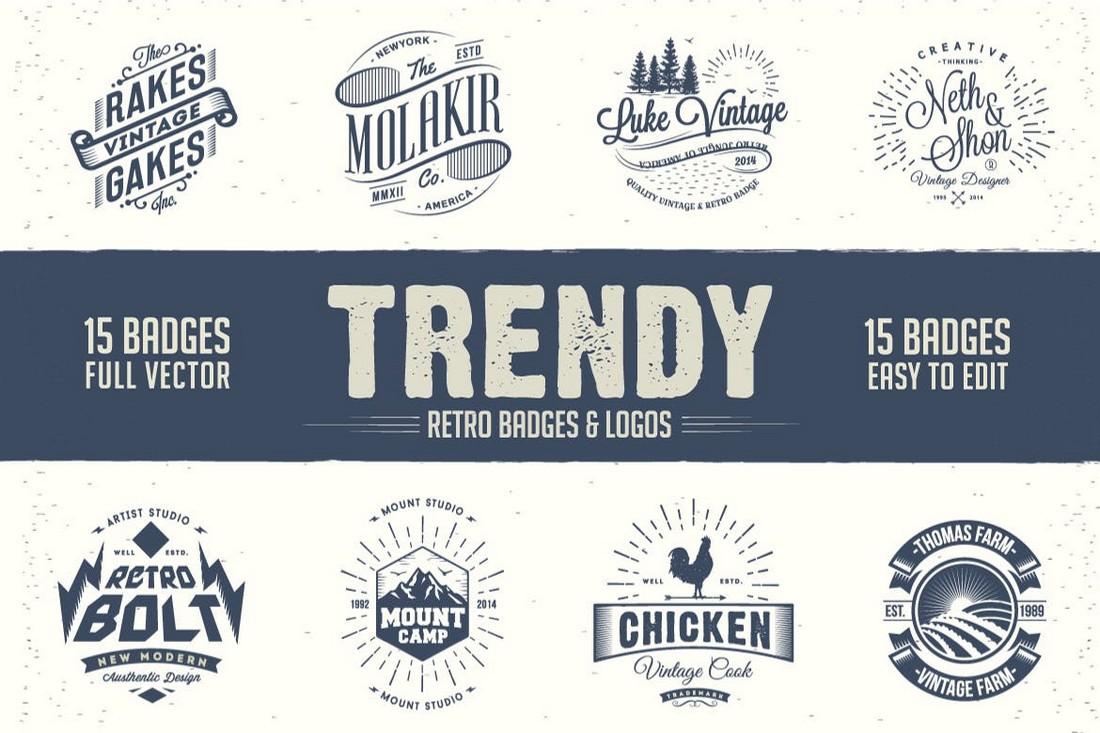 Trendy Retro Badges and Logo Templates