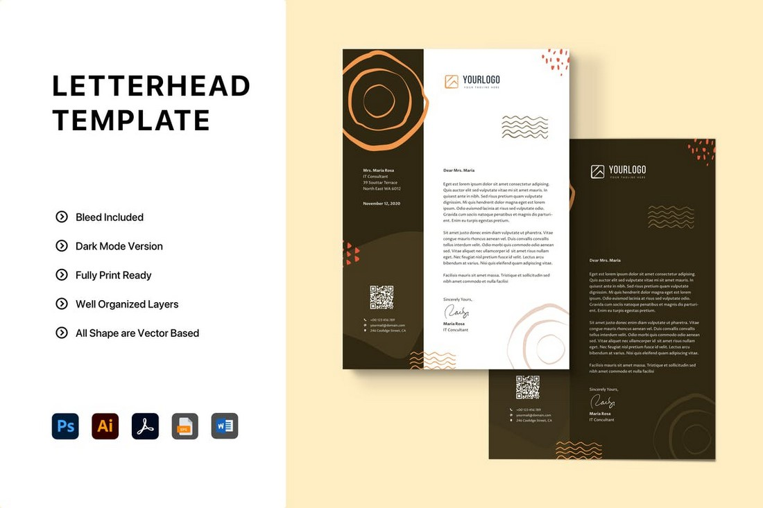 Trendy Word Letterhead Template