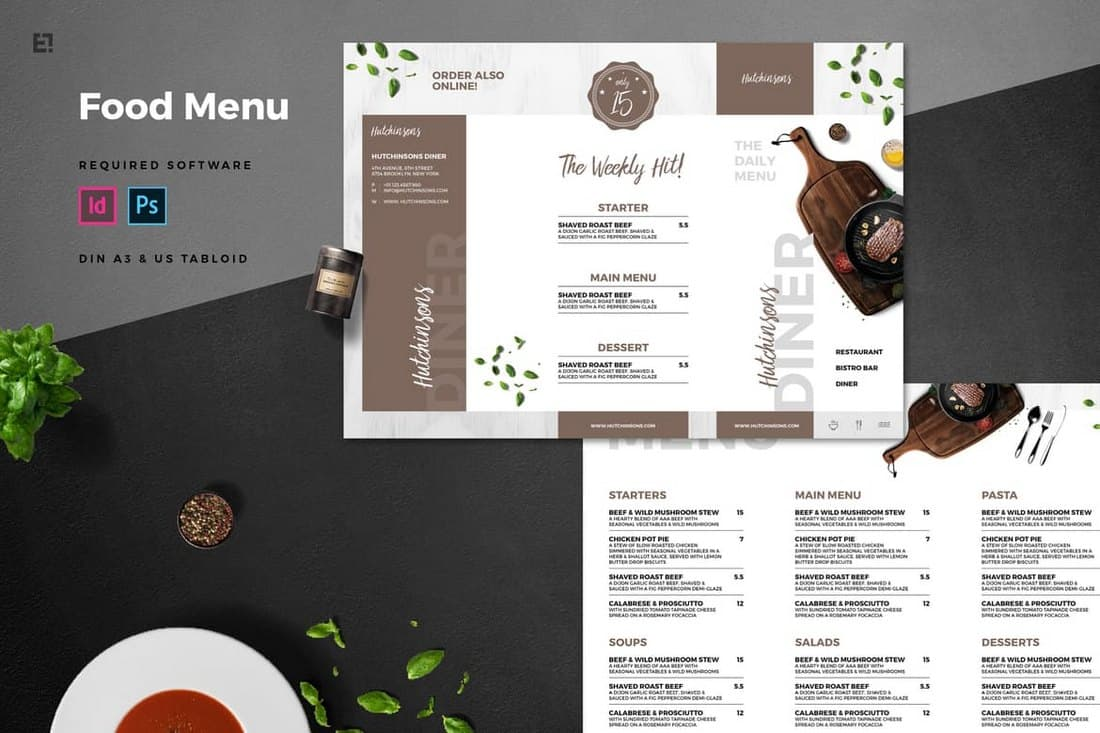 Trifold Restaurant Menu Template