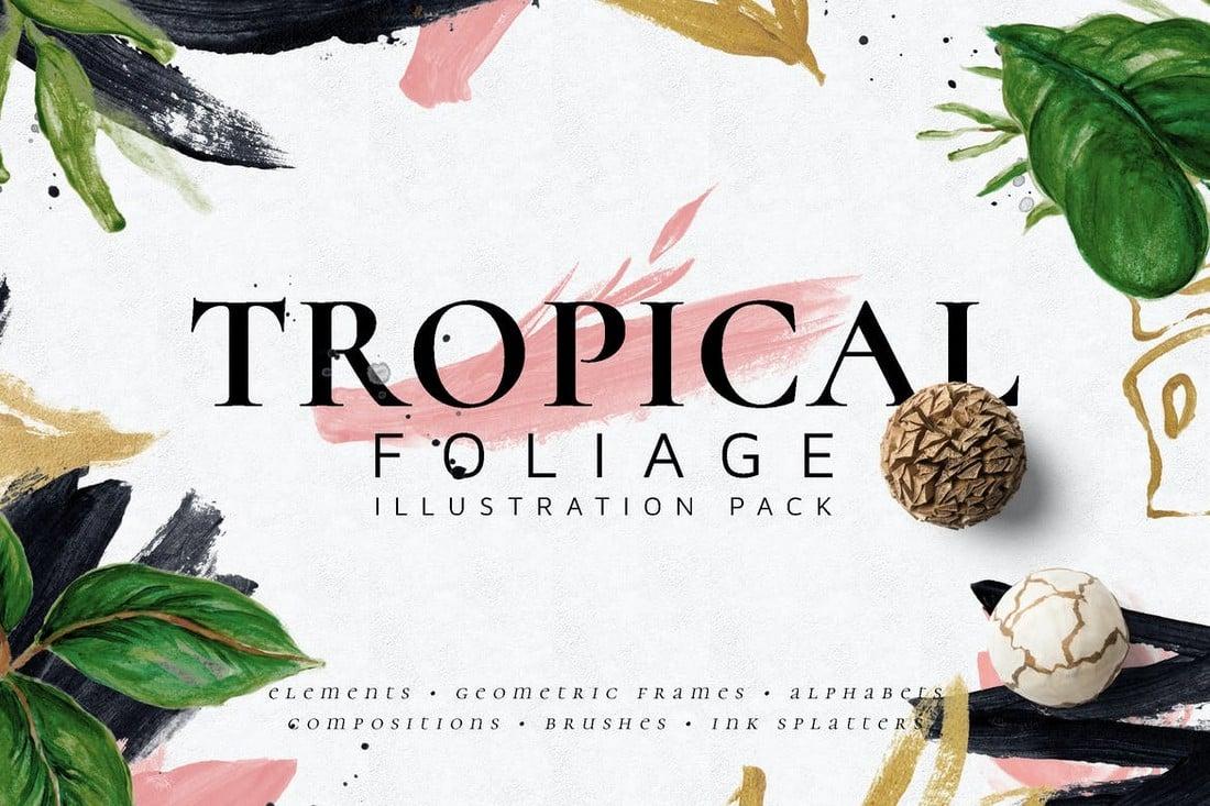 Tropical Foliage Illustration & Brushes Pack