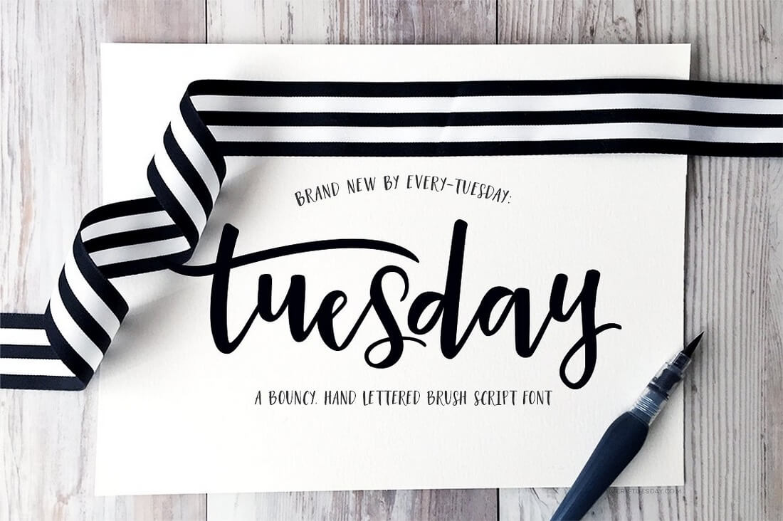 Tuesday-Script 100+ Beautiful Script, Brush & Calligraphy Fonts design tips