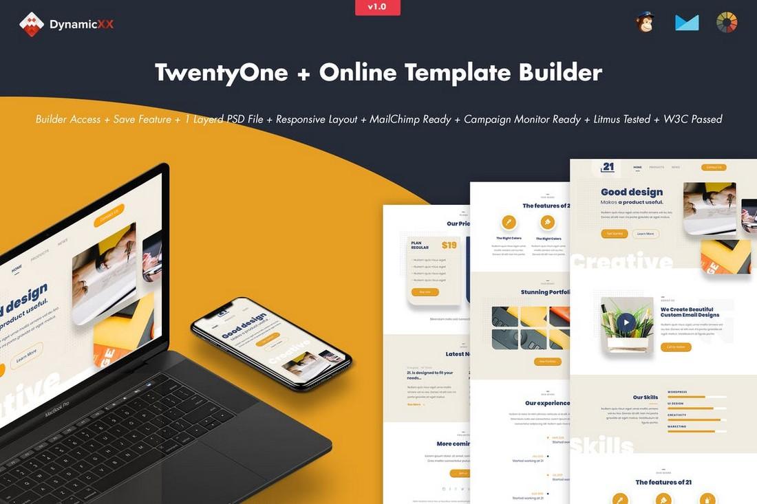 TwentyOne-Creative-Portfolio-Email-Builder 40+ Modern Responsive Email Templates 2021 design tips