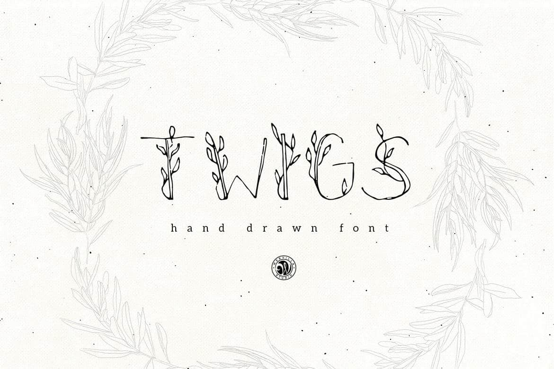 Twigs - Hand-drawn Logo Font