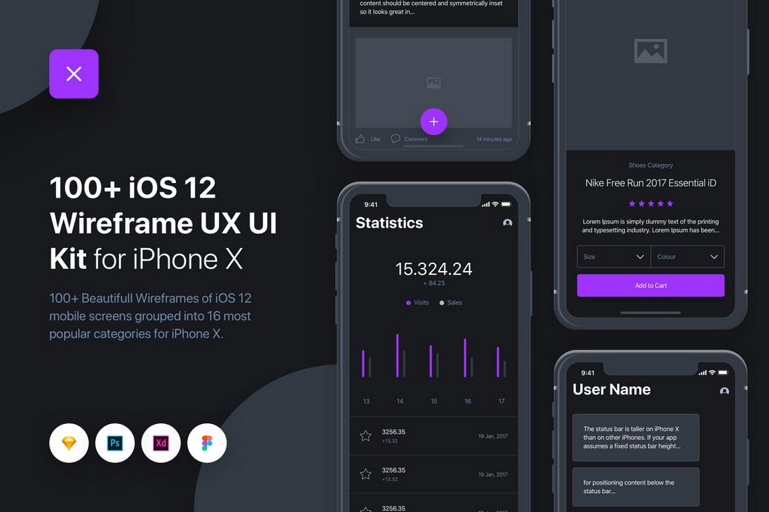 UIXO - iOS 12 Wireframe UI & UX Kit