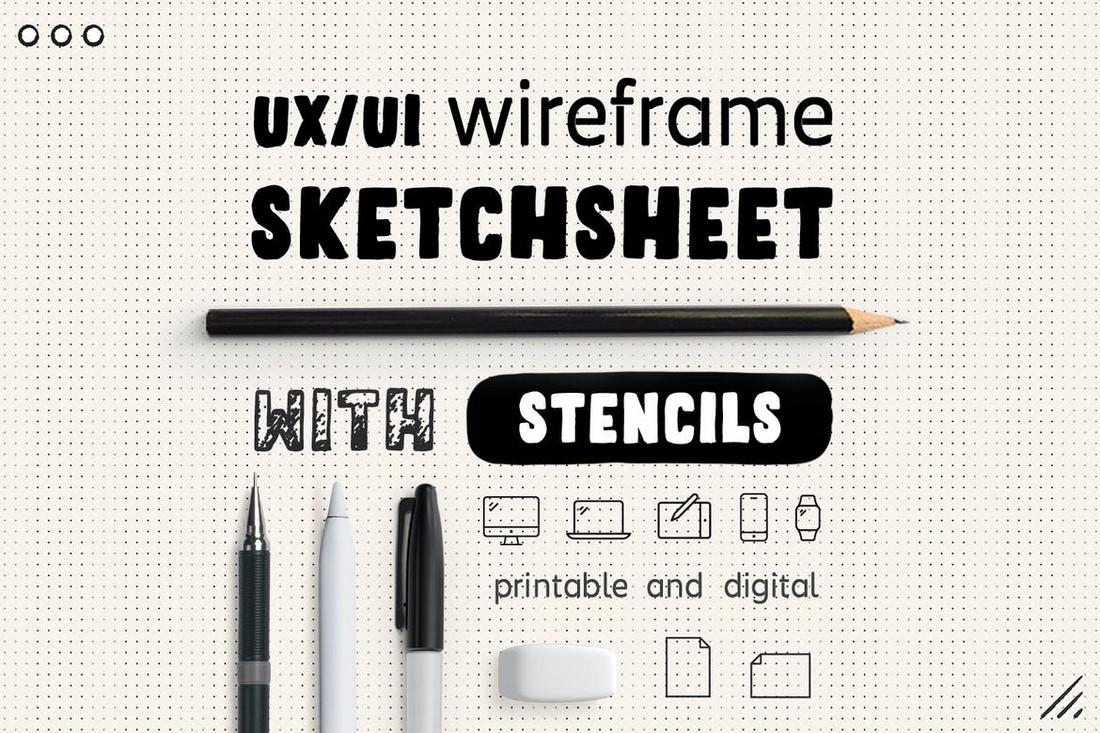 UX Workflow - Wireframe Sketchsheet with Stencils