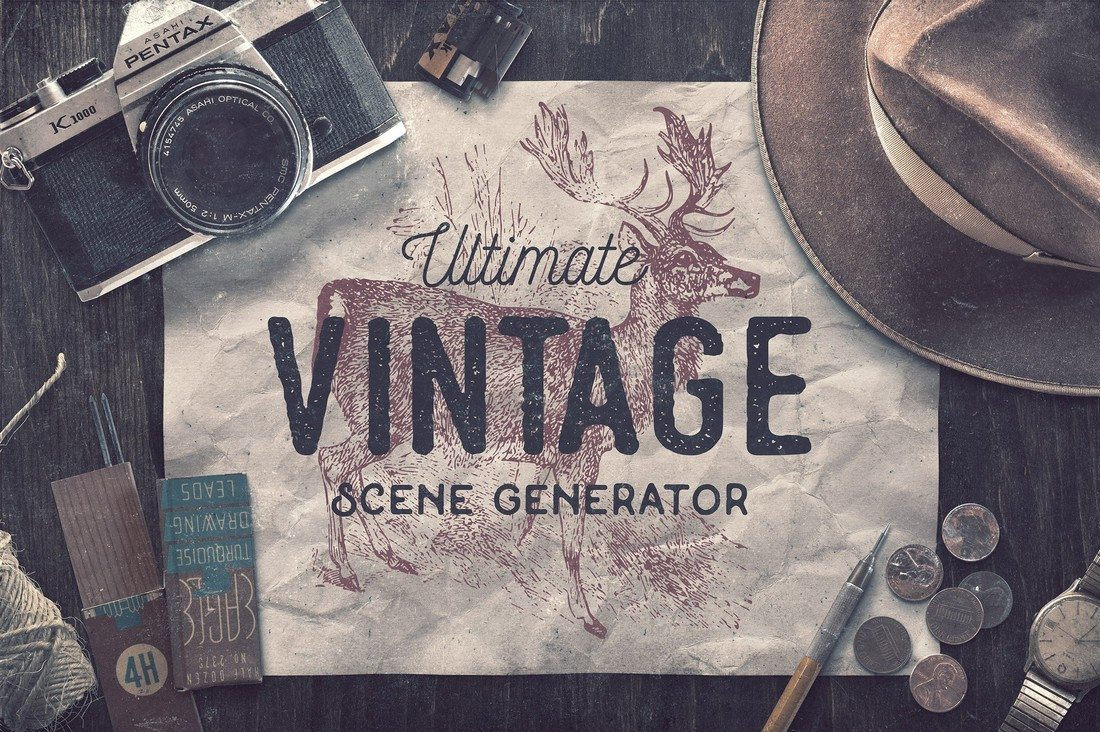 Ultimate-Vintage-Scene-Generator 40+ Stunning Vintage Mockup Packs & Graphics design tips
