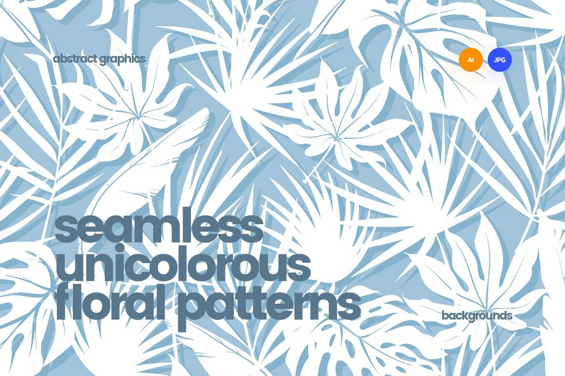 Unicolorous Seamless Floral Patterns & Backgrounds