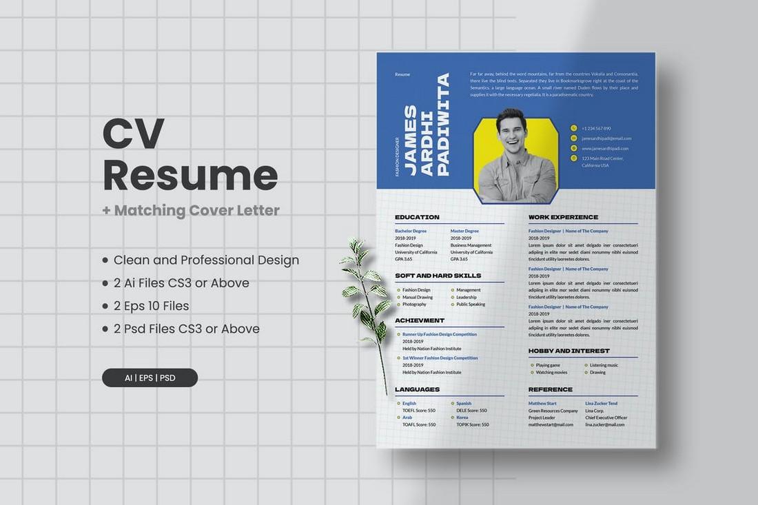 Unique CV Resume Template PSD