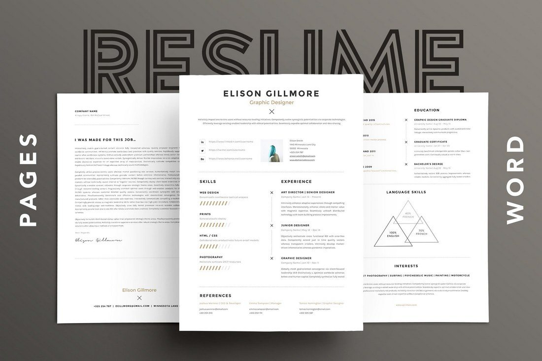 Unique-Resume-CV-for-Pages-and-Word 20+ Best Pages Resume & CV Templates design tips