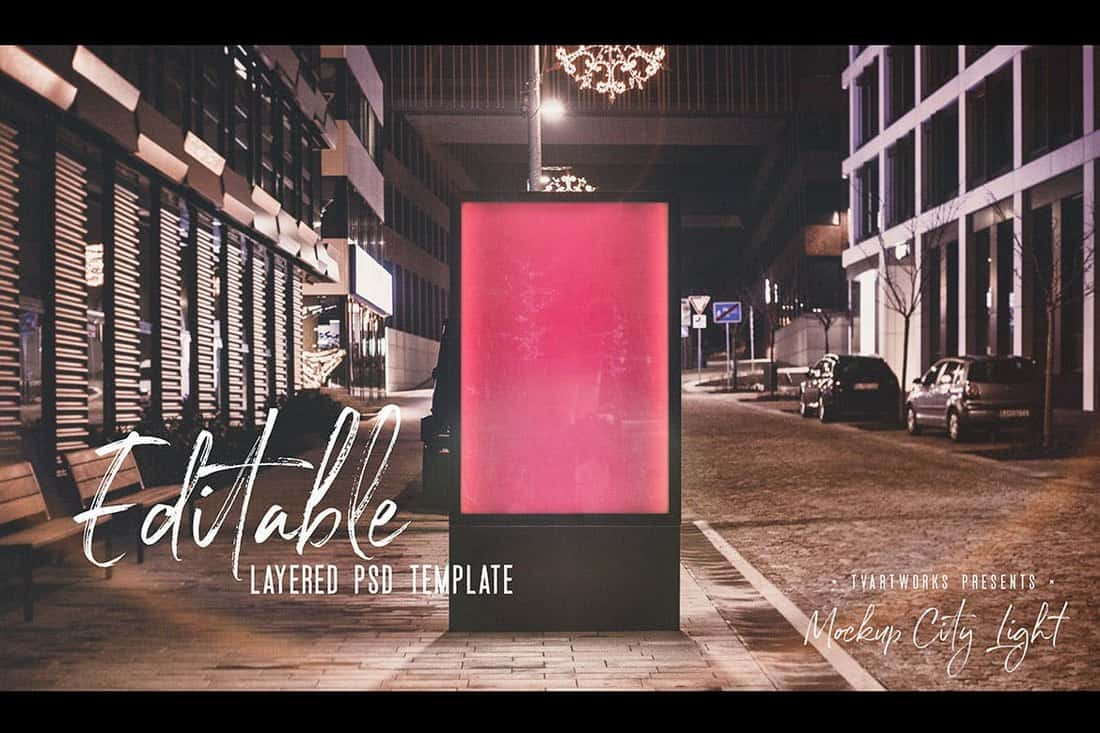 Urban Light Board Poster Mockup Tempalte
