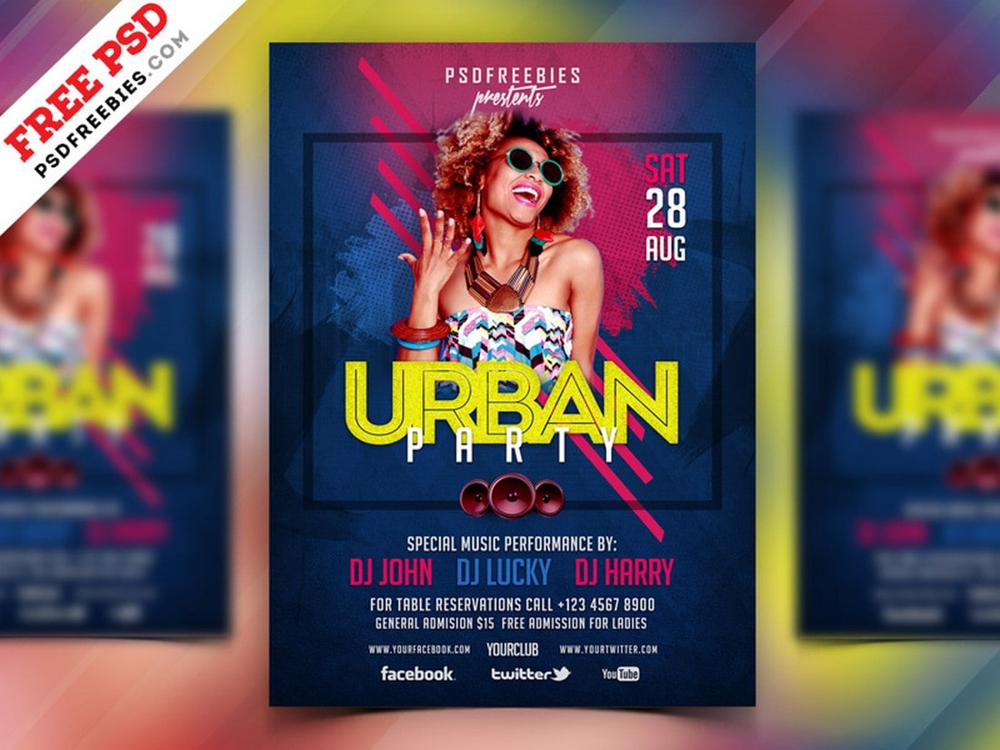 Urban-Music-Party-Flyer-Poster-Template 20+ Best Free Poster Templates (Illustrator & Photoshop) 2020 design tips  Inspiration