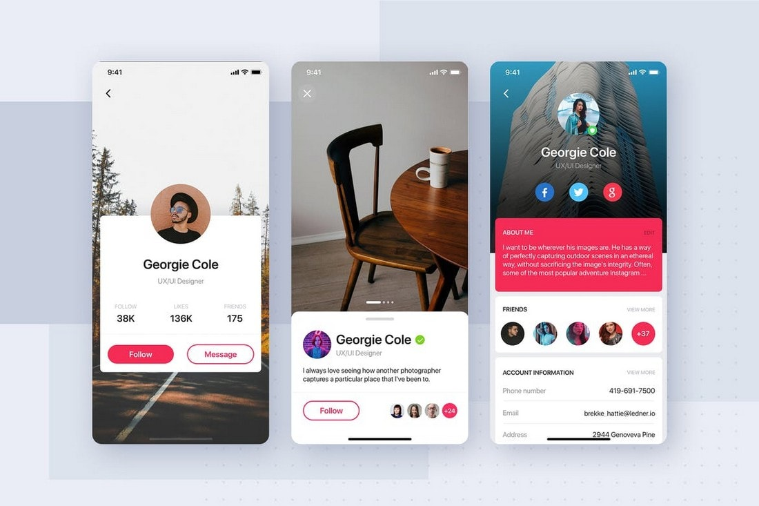 User-Profile-App-UI-Screen-Templates 25+ Best Mobile App UI Design Examples + Templates design tips  Inspiration