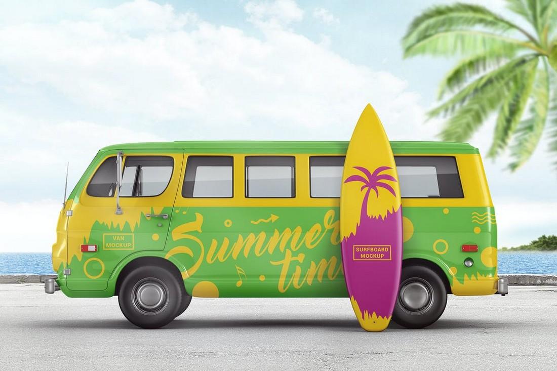 Van With Surfboard Branding Mockup