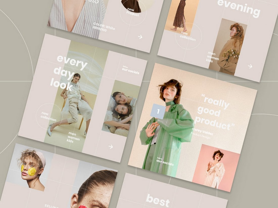 Vana-Free-Fashion-Instagram-Templates-Pack 40+ Best Social Media Kit Templates & Graphics design tips