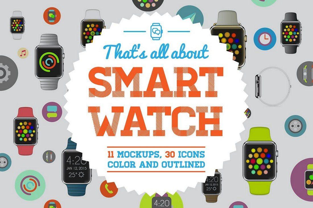 Vector-SmartWatch-Mockups-And-Icons-Bundle 50+ Apple Watch Mockups & Graphics design tips