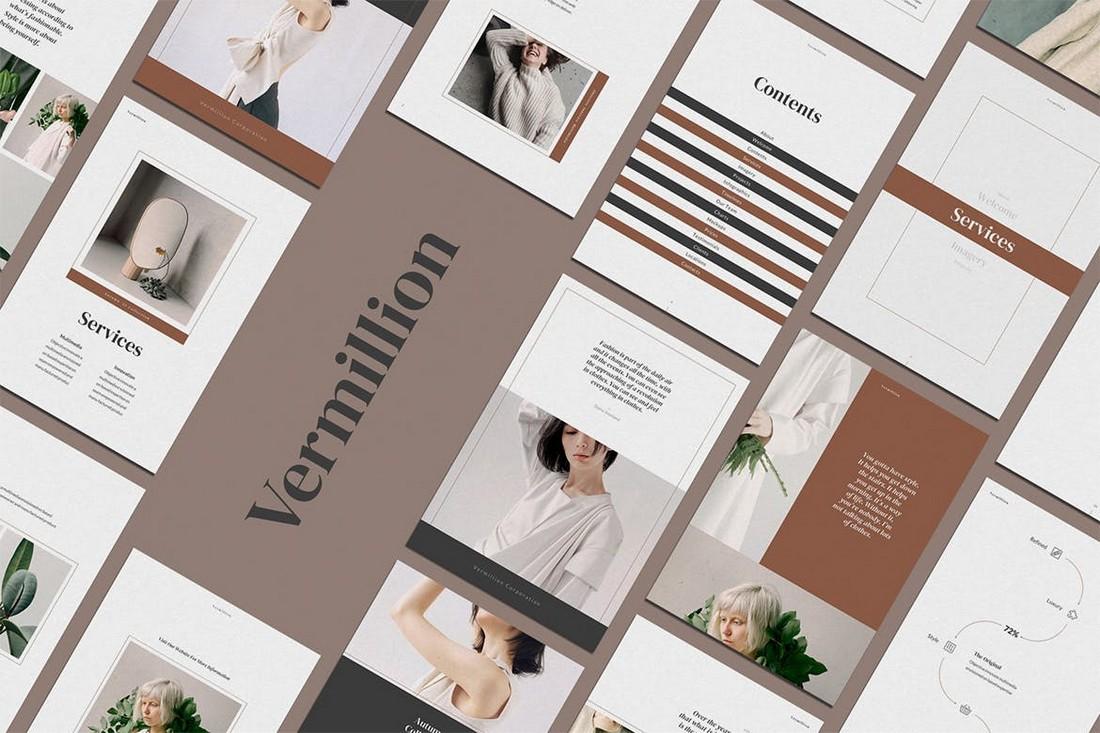 Vermillion Vertical PowerPoint Template