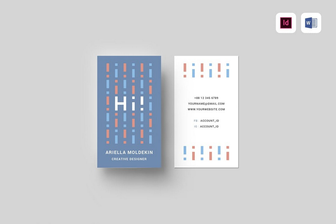 Vertical Business Card Template for Word