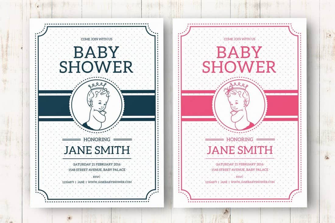 Vintage Baby Shower Invite Template
