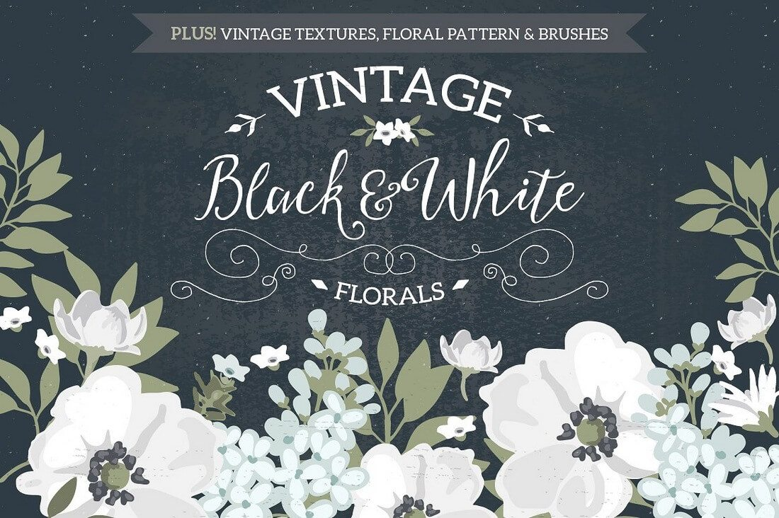 Vintage-Black-White-Florals 40+ Stunning Vintage Mockup Packs & Graphics design tips