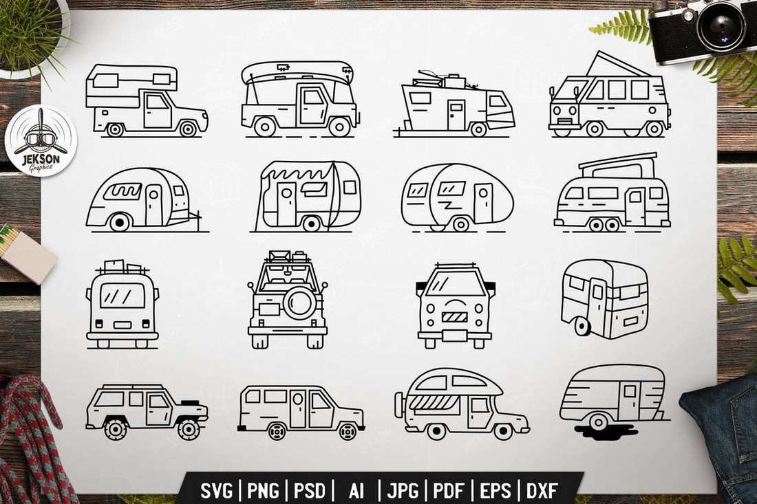 Vintage Camp Trailers Icons Pack