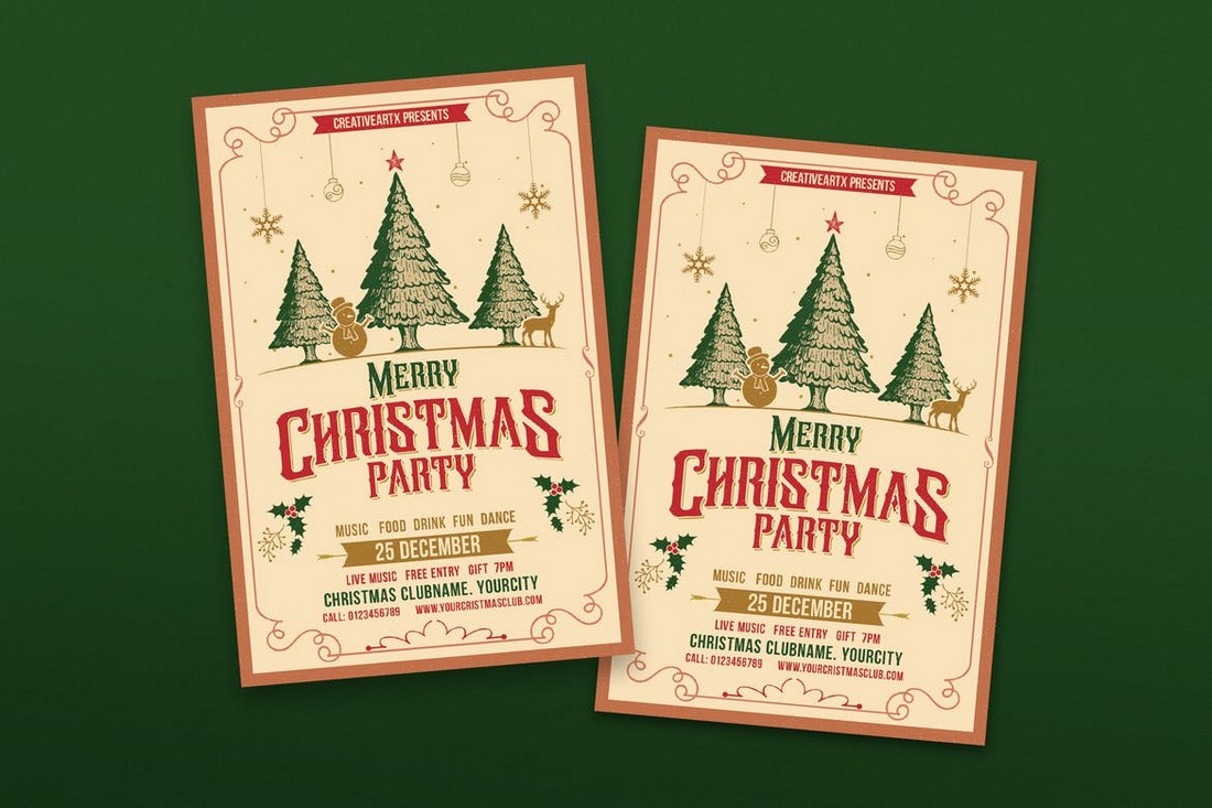 Vintage Christmas Party Flyer Templates