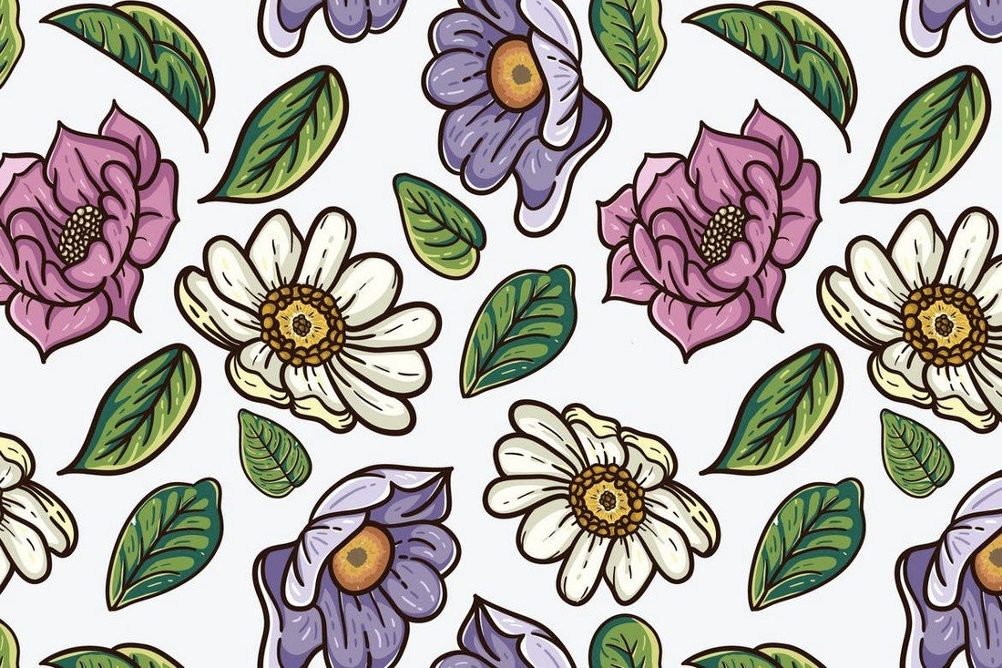 Vintage Floral Pattern with Leaves