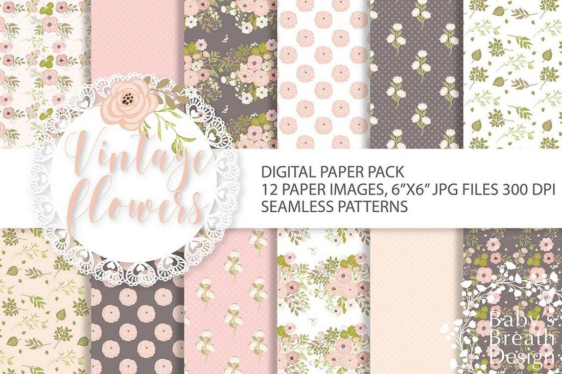 Vintage Flower Digital Paper Background Pack