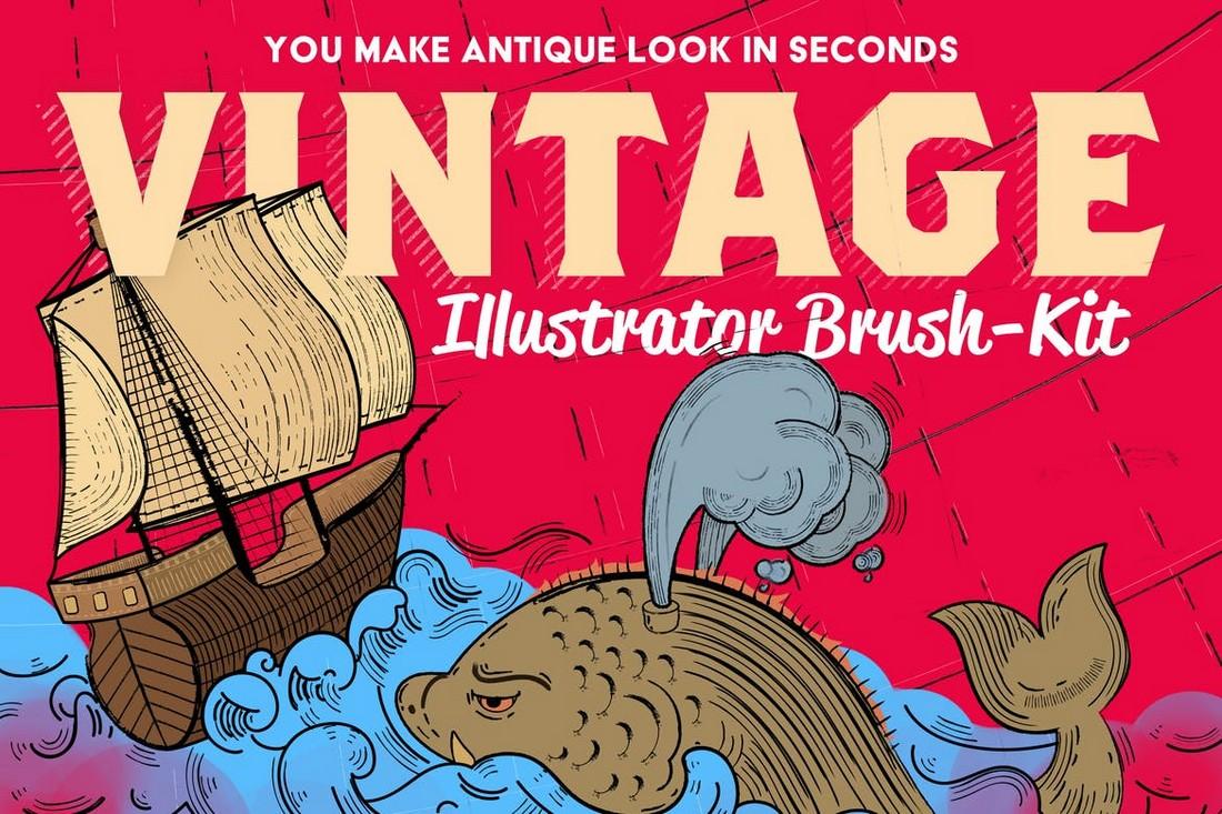 Vintage-Illustrator-Brush-Kit-for-Designers 25+ Best Free Adobe Illustrator Brushes 2021 design tips