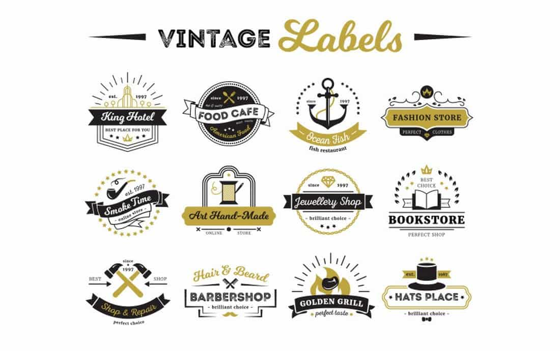 Vintage-Label-Logo-Templates 20+ Best Free Logo Templates design tips