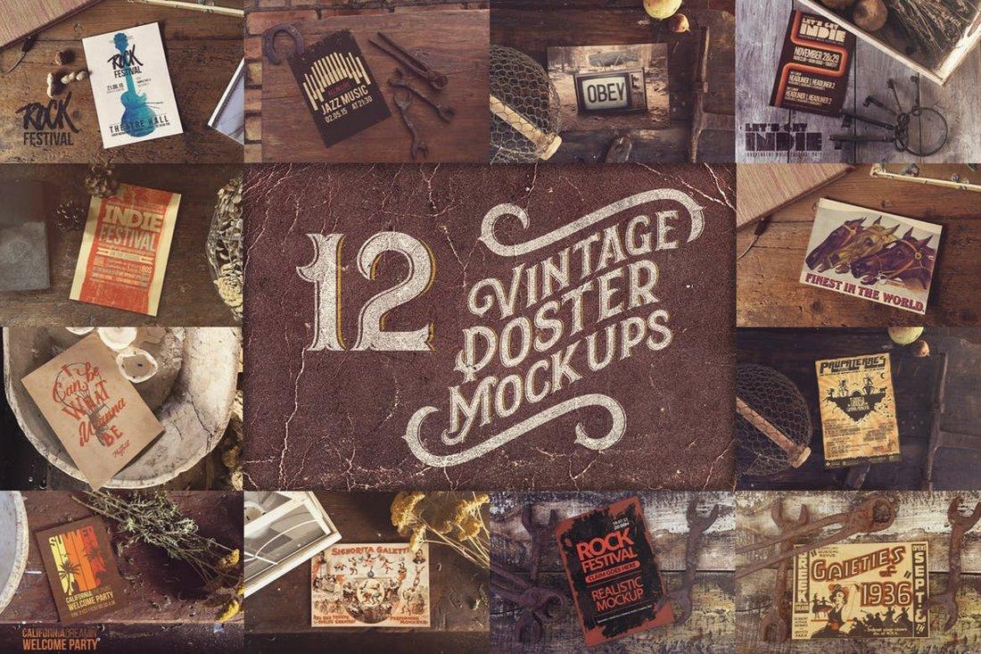 Vintage Poster Mockups Bundle