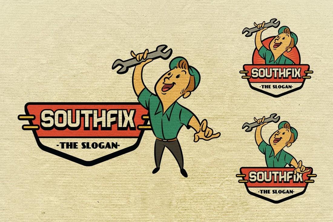 Vintage Repairman Logo Template