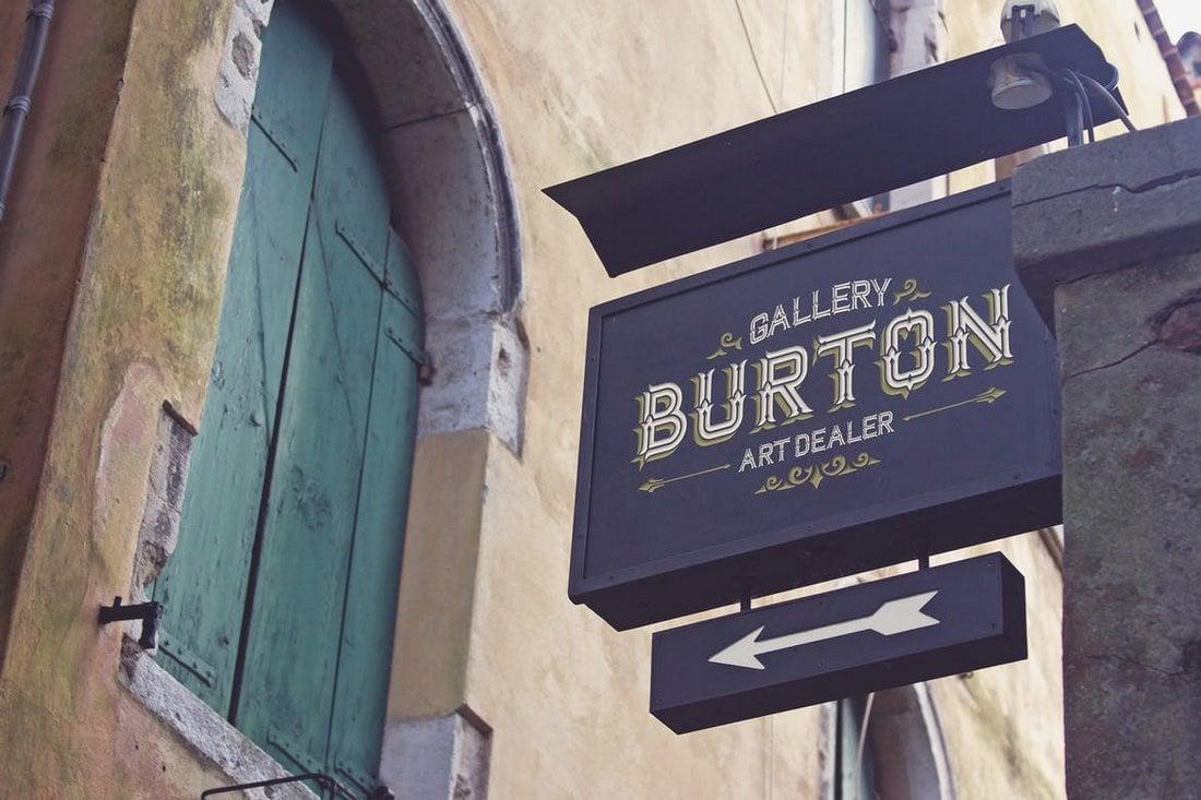 Vintage Venetian Sign Mockup